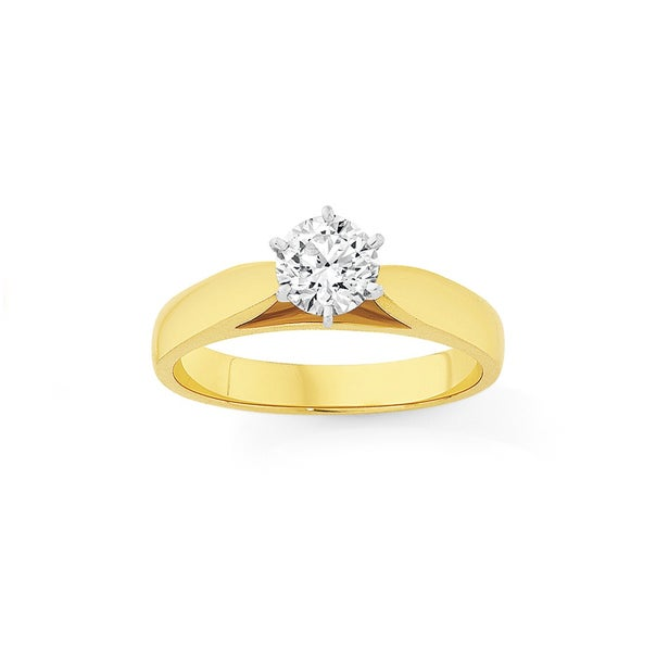 18ct Two Tone Diamond Solitaire Engagement Ring