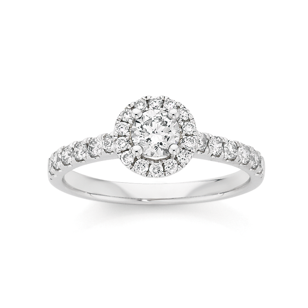 18ct White Gold Diamond Round Brilliant Cut Frame Shoulder Ring