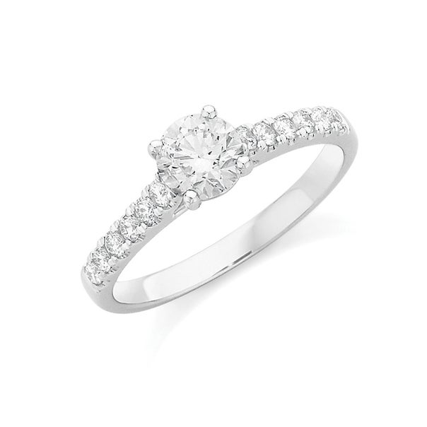18ct White Gold Diamond Shoulder Solitaire Ring