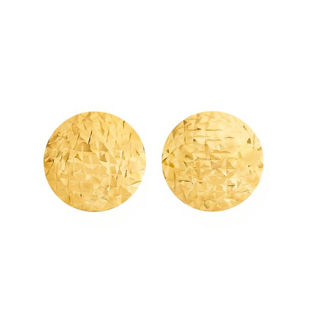 9ct Gold 10mm Diamond-cut Stud Earrings