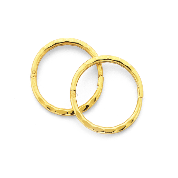 9ct Gold 10mm Small Facet Sleepers