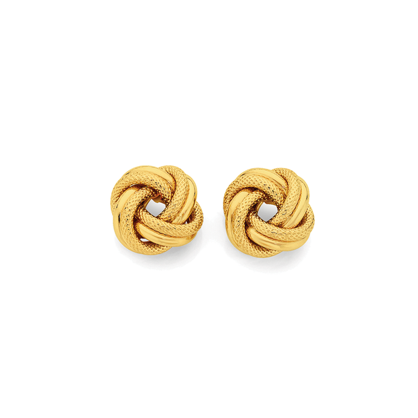 9ct Gold 12mm Double Knot Stud Earrings