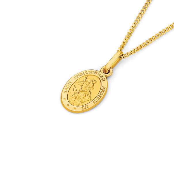 9ct Gold 12mm Oval Saint Christopher Medallion