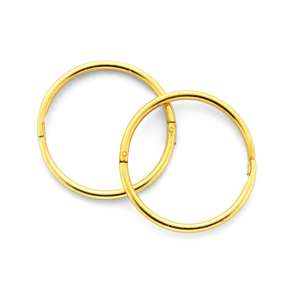 9ct Gold 14mm Large Plain Sleepers