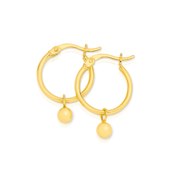 9ct Gold 1.5x12mm Hoop Earrings with Ball Drops