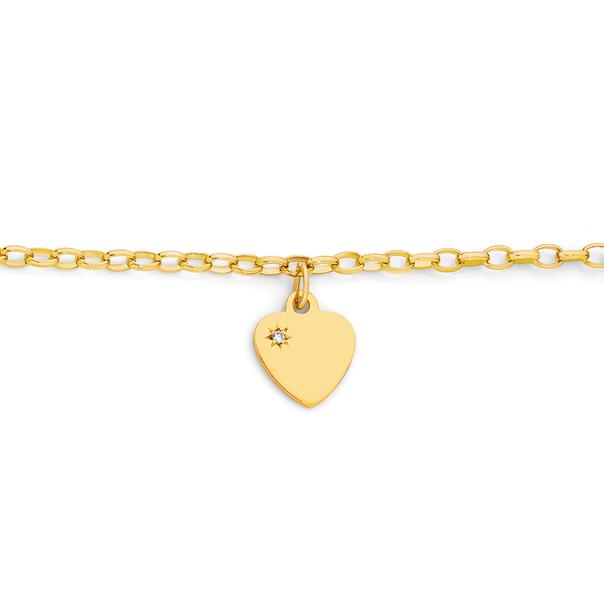 9ct Gold 16.5cm Solid Oval Belcher Diamond Heart Charm Bracelet