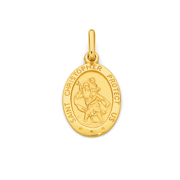 9ct Gold 16mm Oval St Christopher