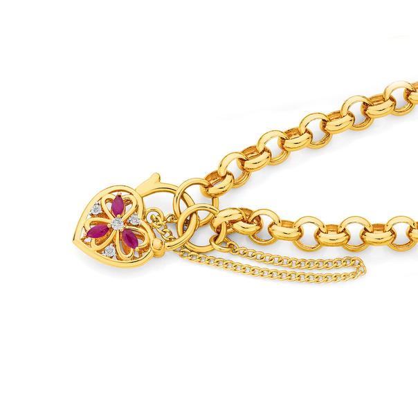 9ct Gold 19cm Solid Natural Rubies & Diamonds Padlock Bracelet