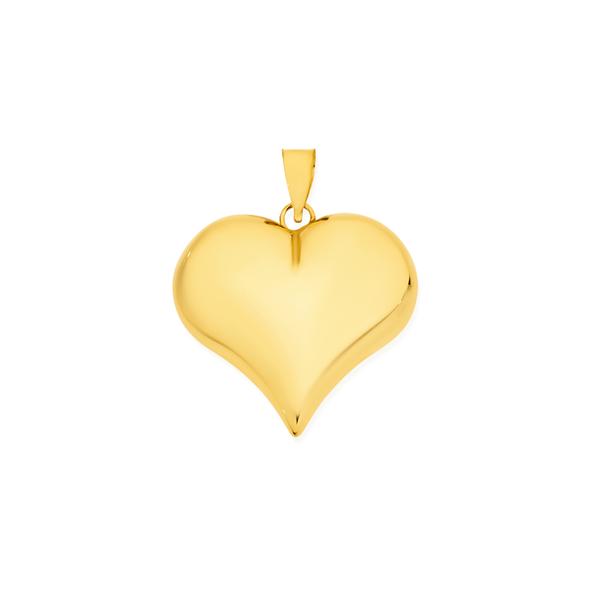 9ct Gold 20mm Puff Heart Pendant