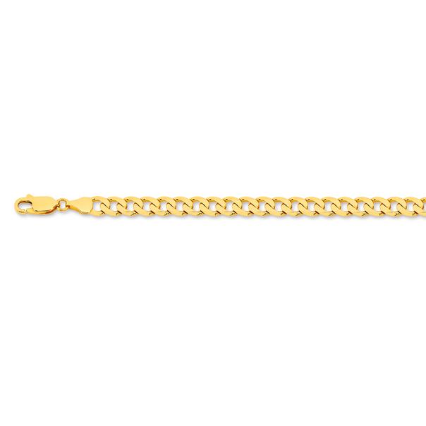 9ct Gold 21cm Solid Curb Bracelet