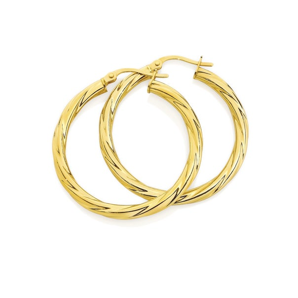 9ct Gold 25mm Twist Hoop Earrings