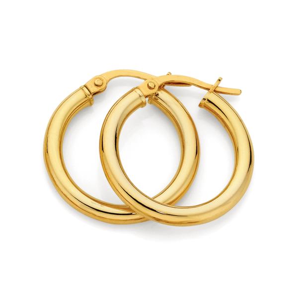 9ct Gold 2.5x15mm Hoop Earrings