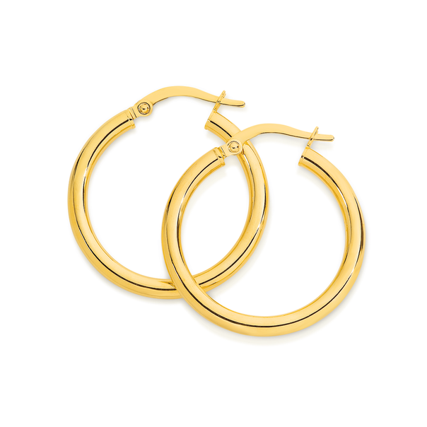 9ct Gold 2.5x20mm Polished Hoop Earrings