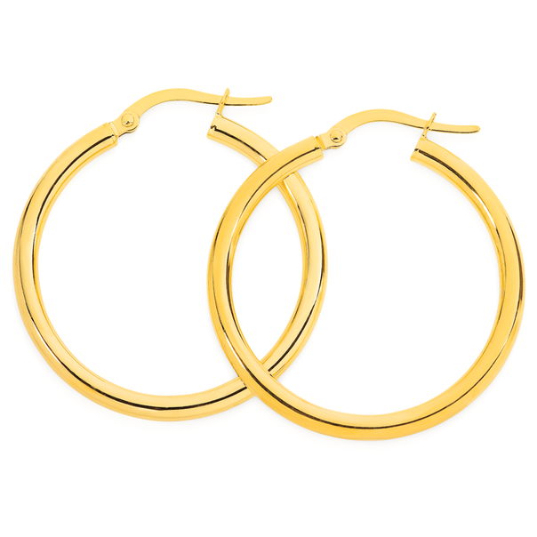 9ct Gold 2.5x25mm Polished Hoop Earrings