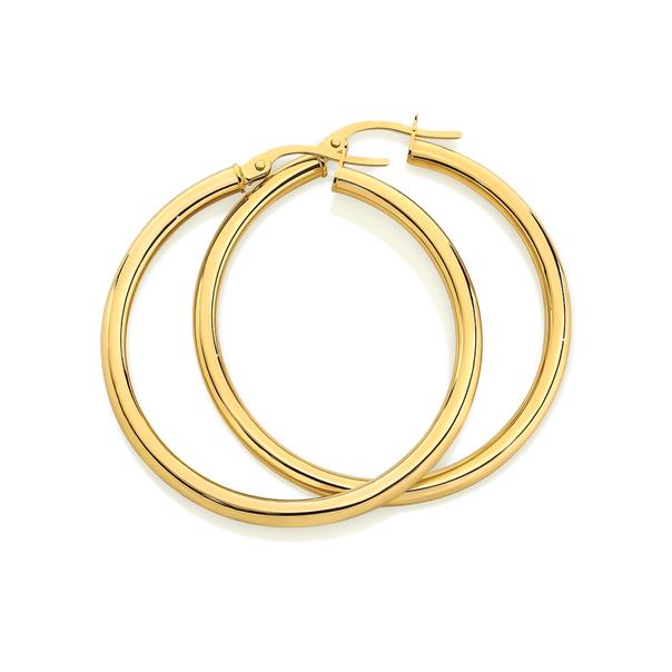 9ct Gold 2.5x30mm Hoop Earrings
