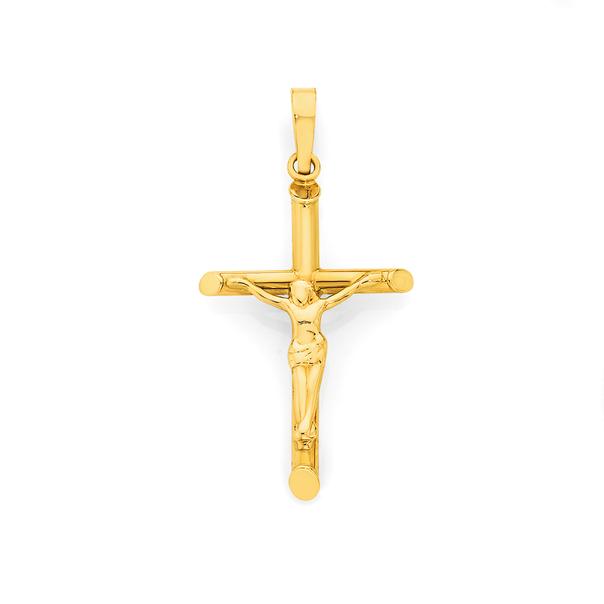 9ct Gold 26mm Crucifix Cross Pendant