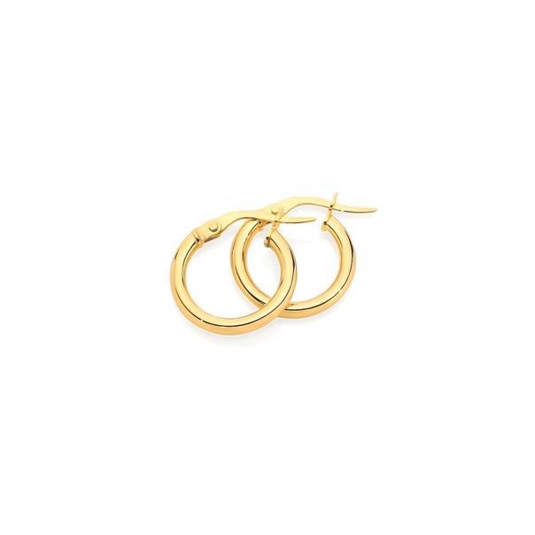 9ct Gold 2x10mm Hoop Earrings