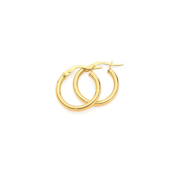 9ct Gold 2x12mm Hoop Earrings