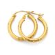 9ct Gold 2x15mm Diamond-Cut Hoop Earrings
