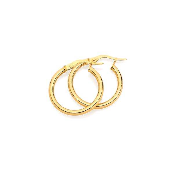 9ct Gold 2x15mm Hoop Earrings