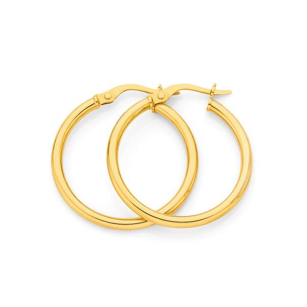9ct Gold 2x20mm Hoop Earrings
