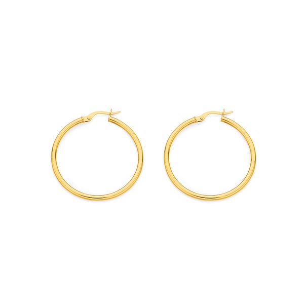 9ct Gold 2x30mm Hoop Earrings