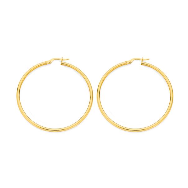 9ct Gold 2x40mm Polished Hoop Earrings