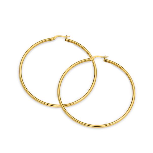9ct Gold 2x50mm Hoop Earrings