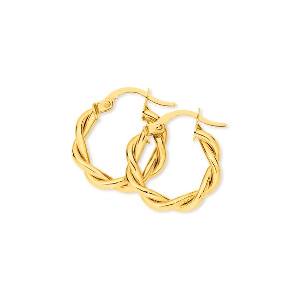 9ct Gold 3x10mm Entwined Twist Hoop Earrings