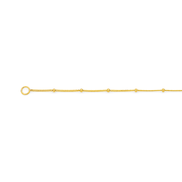 9ct Gold 45cm Beaded Solid Curb Chain