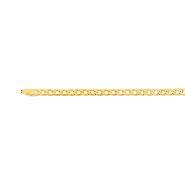 9ct Gold 45cm Solid Bevelled Curb Chain