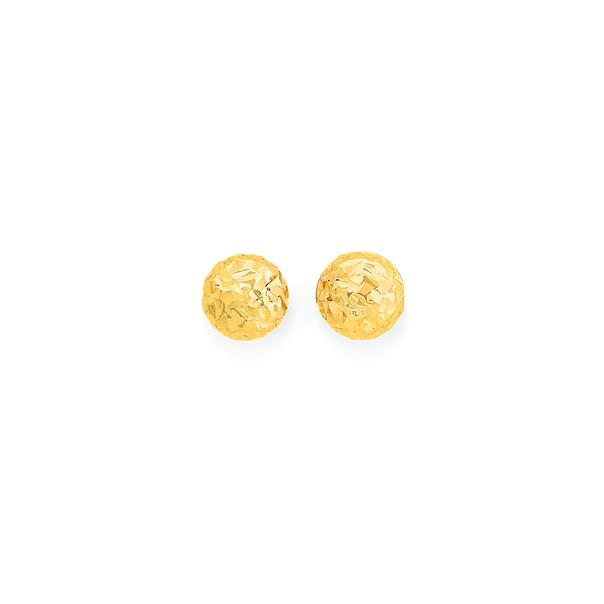9ct Gold 4mm Diamond-Cut Ball Stud Earrings