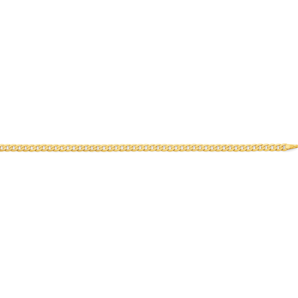 9ct Gold 50cm Solid Bevelled Close Curb Chain
