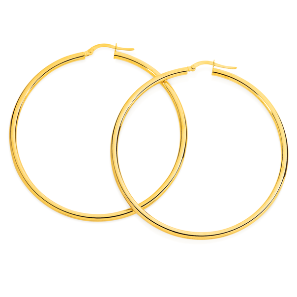 9ct Gold 50mm Polished Hoop Earrings