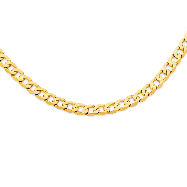 9ct Gold 55cm Solid Bevelled Close Curb Chain