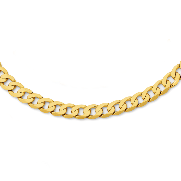 9ct Gold 55cm Solid Bevelled Curb Chain