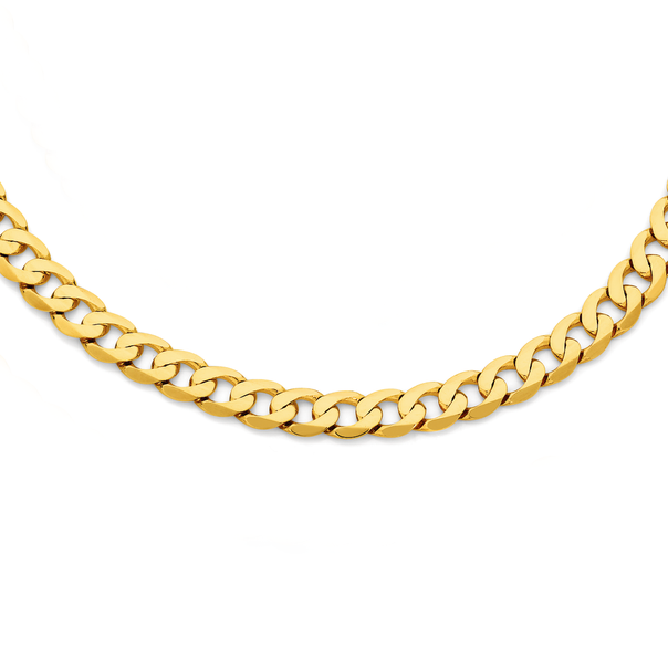 9ct Gold 60cm Solid Bevelled Close Curb Chain