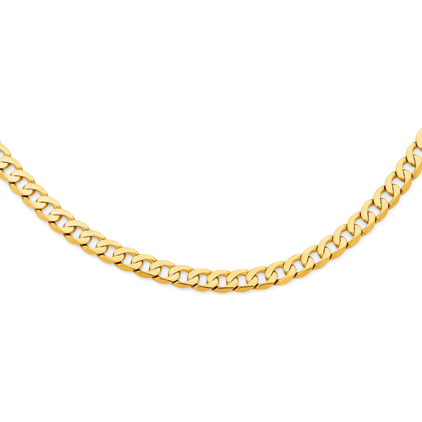 9ct Gold 60cm Solid Flat Close Curb Chain