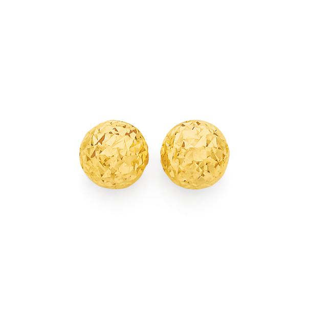 9ct Gold 6mm Diamond-Cut Ball Stud Earrings