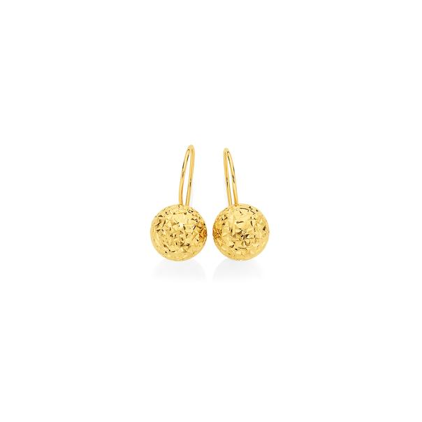 9ct Gold 6mm Diamond-cut Euroball Earrings