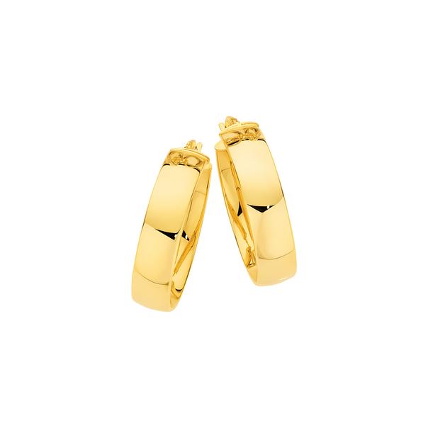 9ct Gold 6x20mm Half Round Hoop Earrings