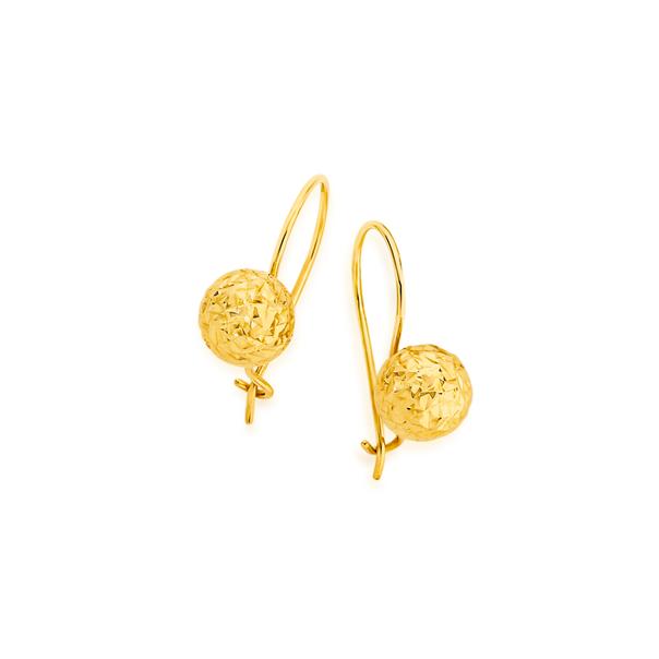 9ct Gold 8mm Diamond-cut Euroball Earrings