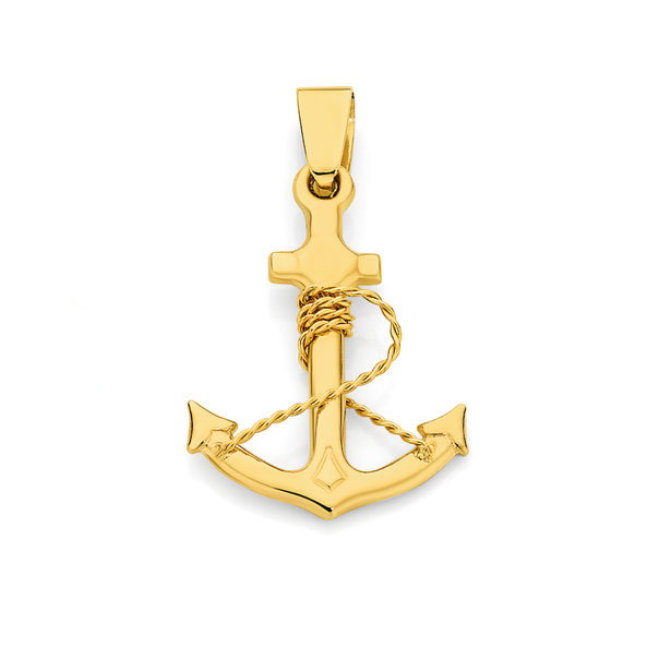 9ct Gold Anchor Pendant