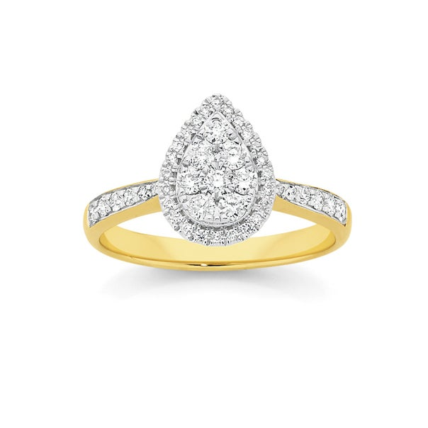 9ct Gold Cluster Pear Shape Dress Ring
