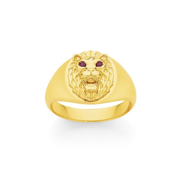 9ct Gold Created Rubies Lion Head Gents Ring