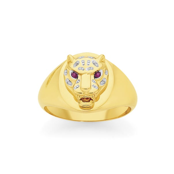 9ct Gold Created Ruby & Diamond Leopard Head Ring
