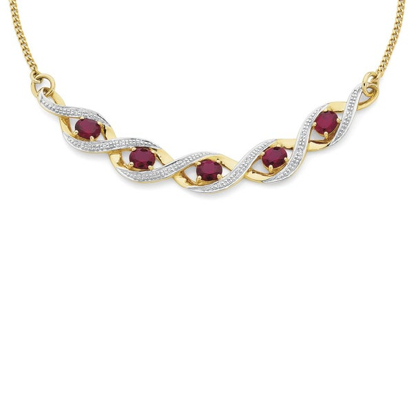 9ct Gold Created Ruby & Diamond Necklace