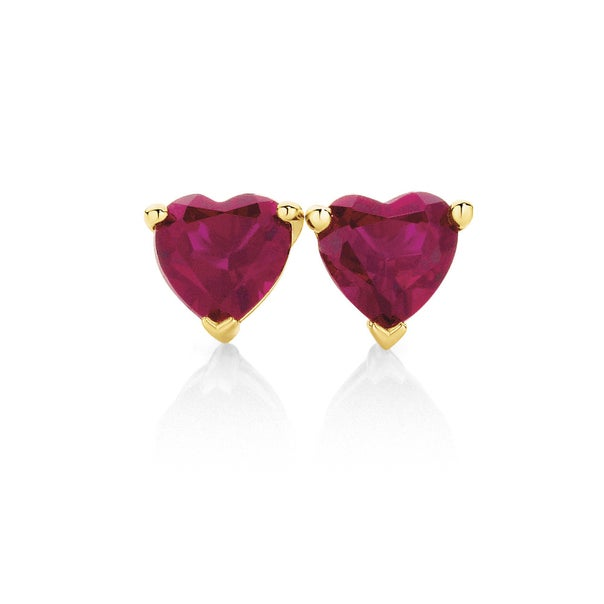 9ct Gold Created Ruby Studs