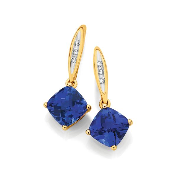 9ct Gold Created Sapphire & Diamond Drop Earrings