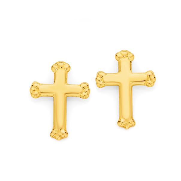 9ct Gold Crowned Cross Stud Childrens Earrings